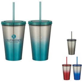 Stainless Steel Double Wall Chroma Tumbler with Straw (16 Oz.)