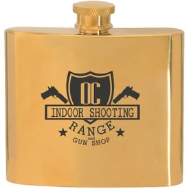Stainless Steel Gold Plated Hip Flasks (5 Oz.)
