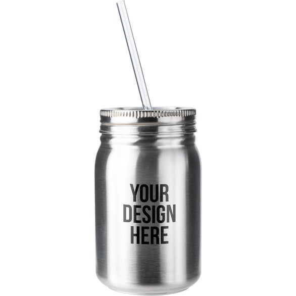 Silver Stainless Steel Mason Jar