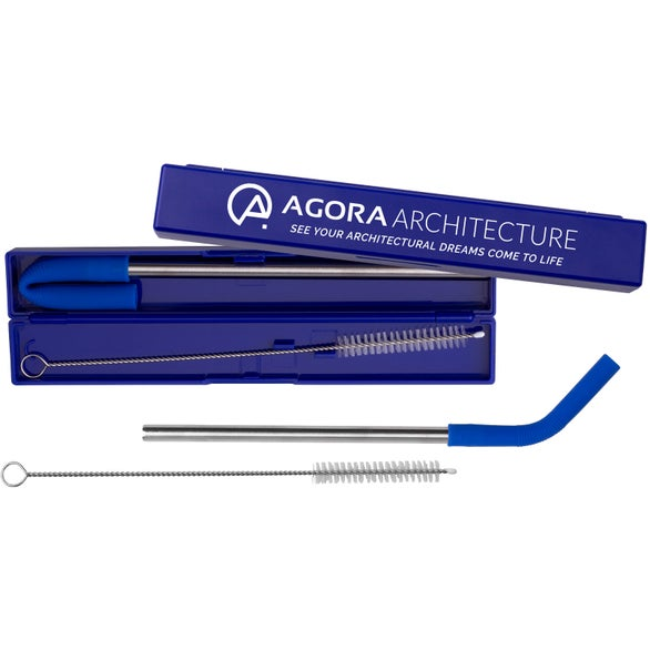 Blue Stainless Steel Metal Straw Set