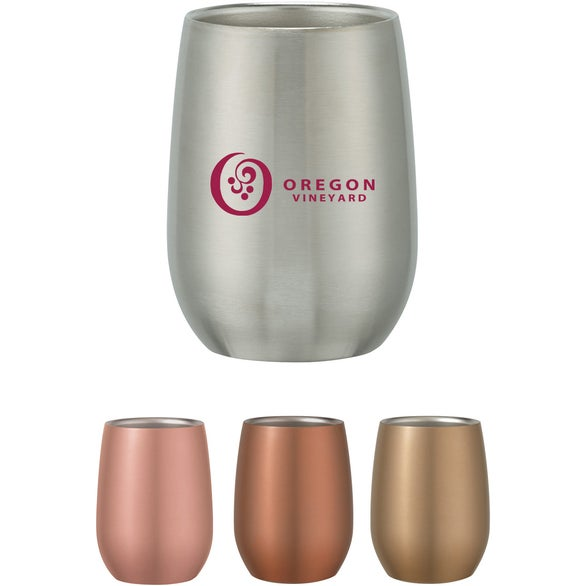 Silver Stainless Steel Stemless Wine Glass