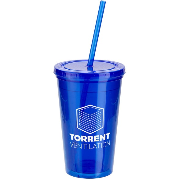 Blue Trifecta Double Wall Tumbler with Lid and Straw
