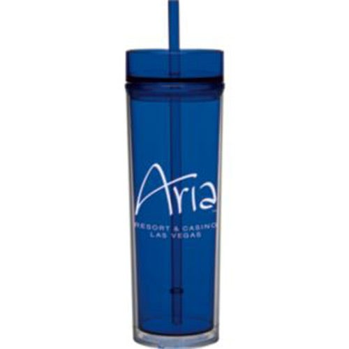 Blue Tube Tumbler with Straw