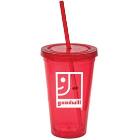 Tumbler with Lid and Straw with Your Slogan
