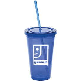 Branded Tumbler with Lid and Straw