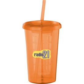 Imprinted Tutti Frutti Tumbler with Straw