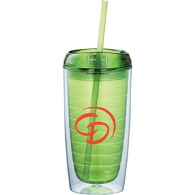 Logo Twister Tumbler With Straw