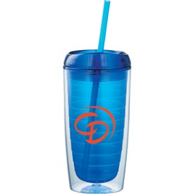 Branded Twister Tumbler With Straw