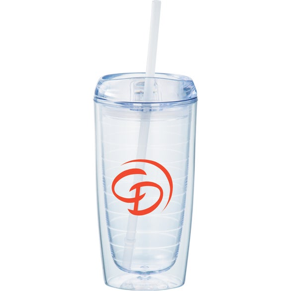 Clear Twister Tumbler with Straw