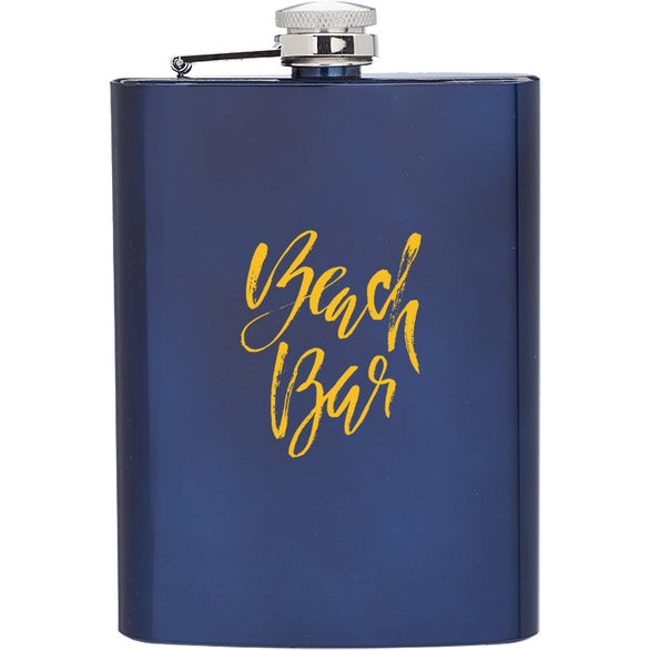 Blue Verano Stainless Steel Hip Flask