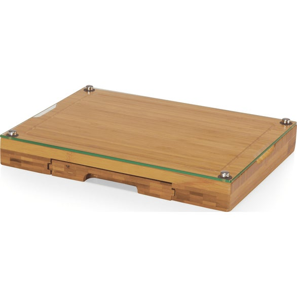 Bamboo Concerto Glass Top Cheese Cutting Board and Tool Set