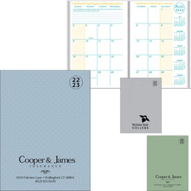 Academic Monthly Planner with Weave Cover Printed with Your Logo
