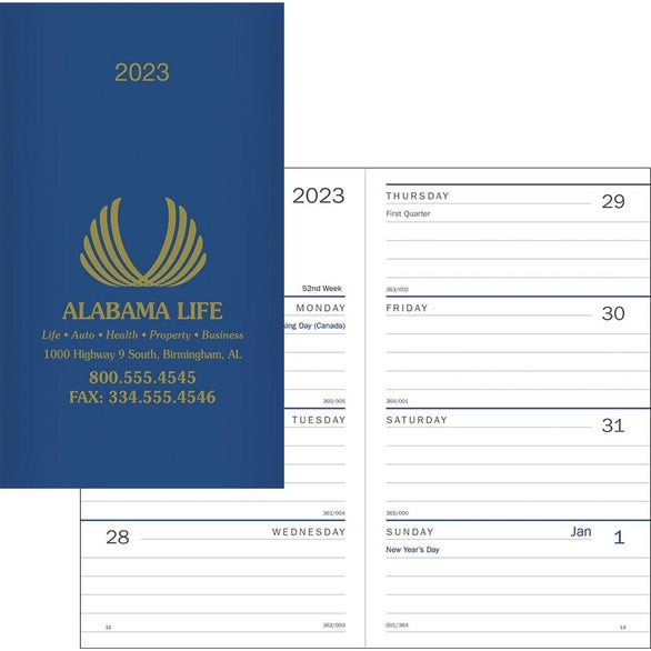 Promotional 2019 classic weekly pocket planners with for Custom photo planner