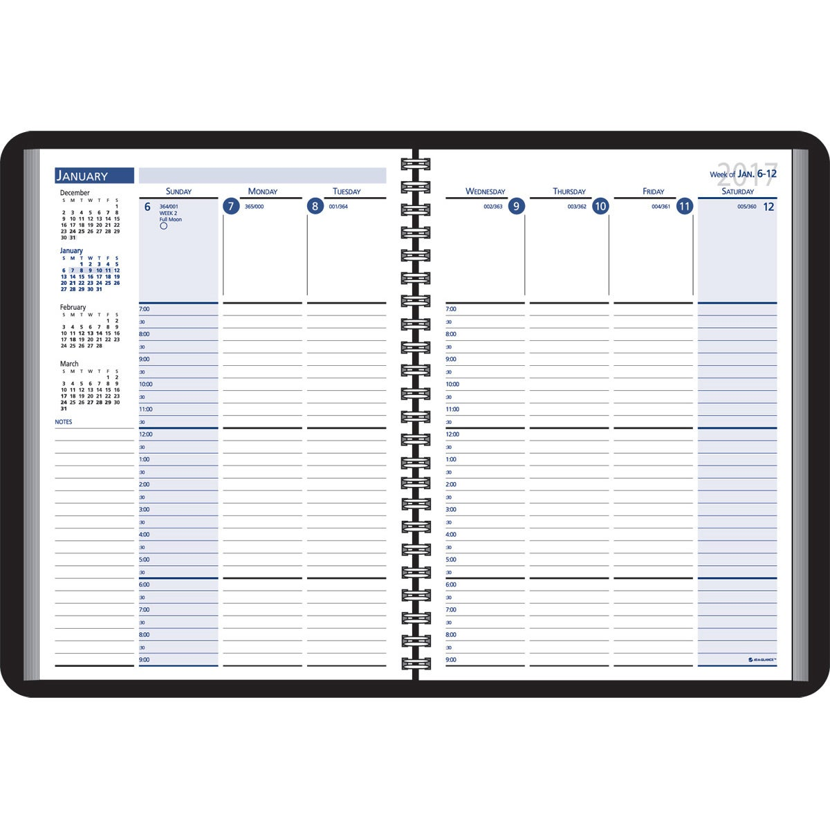 Column style weekly wired desk planner 2017 custom day for Custom photo planner