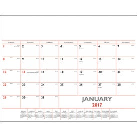 Red/Black Deskpad Calendar with Vinyl Corners