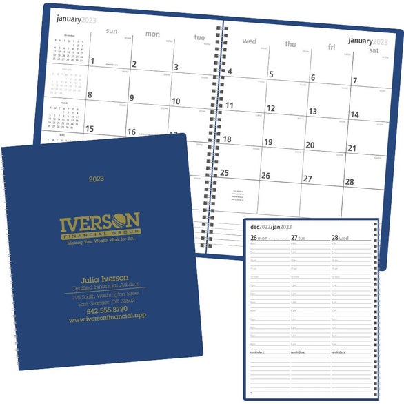 Matte Blue Monthly and Weekly Planner