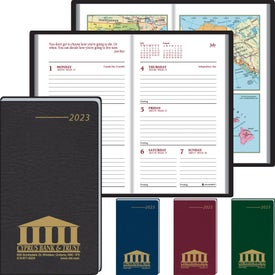Monogrammed Pocket Partner Weekly with 14 Full Color Map 2017