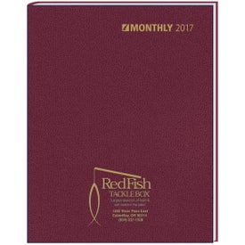 Monogrammed Ruled Monthly Stitched To Cover Desk Planner