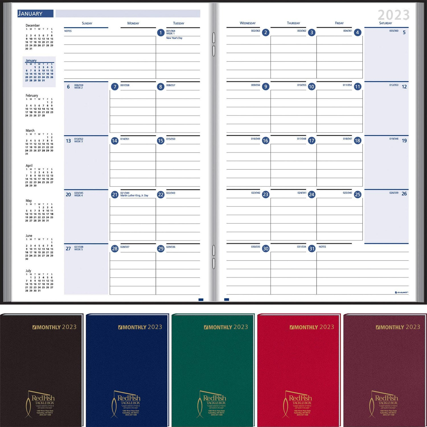 Promotional 2019 Ruled Monthly Stitched To Cover Desk Planners With