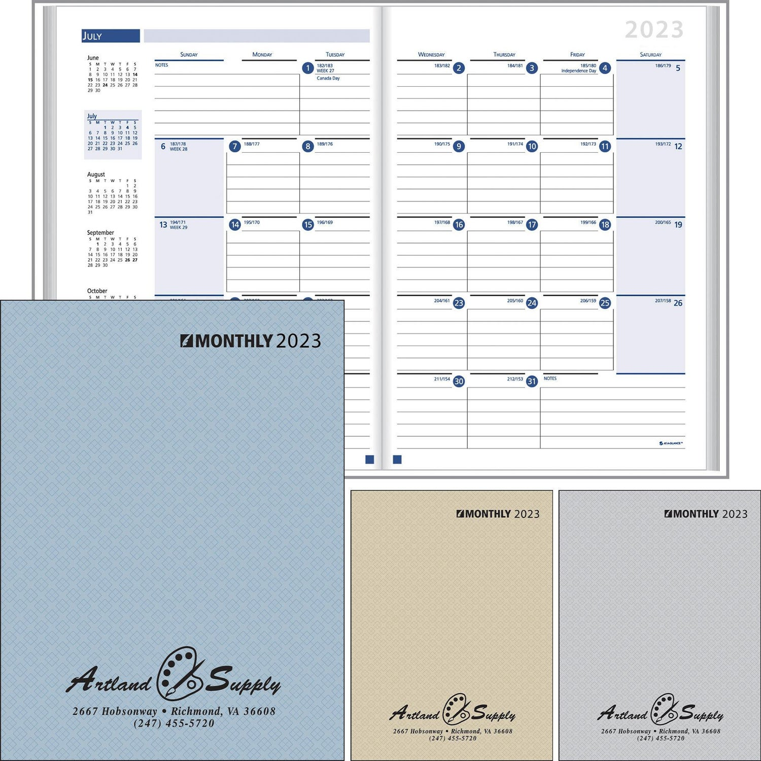 Promotional 2019 Ruled Monthly Desk Planner With Paper Covers With