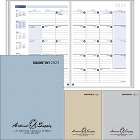 Ruled Monthly Desk Planner with Paper Cover Printed with Your Logo