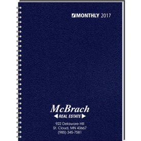 Branded Ruled Monthly Format Wired to 2 Piece Cover Desk Planner
