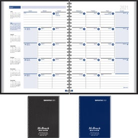 Ruled Monthly Format Wired to 2 Piece Cover Desk Planner Imprinted with Your Logo