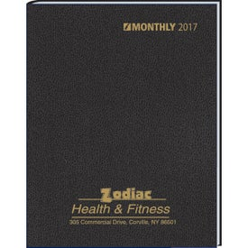 Monthly Format Stitched to Cover Desk Planner with Your Logo