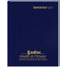 Custom Monthly Format Stitched to Cover Desk Planner