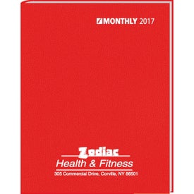 Promotional Monthly Format Stitched to Cover Desk Planner