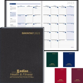 Monthly Format Stitched to Cover Desk Planner Printed with Your Logo