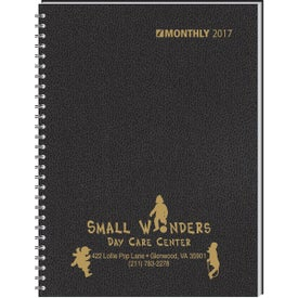 Ruled Monthly Wired to 2 Piece Cover Desk Planner for Advertising