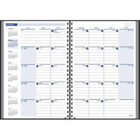 Imprinted Ruled Monthly Wired to 2 Piece Cover Desk Planner