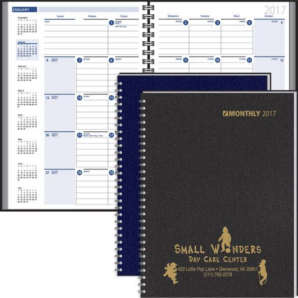 Ruled Monthly Wired to 2 Piece Cover Desk Planner