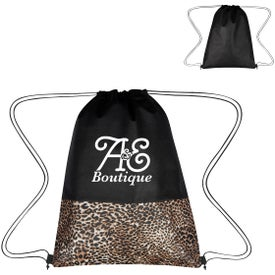 Leopard Print Non-Woven Drawstring Bags