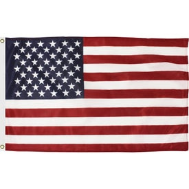 American Flags with Heading and Grommets