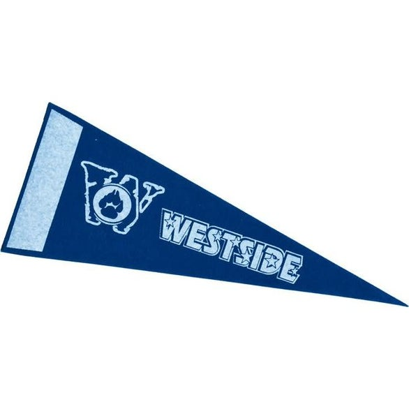 Royal Blue Colored Felt Pennants with Printed Strip