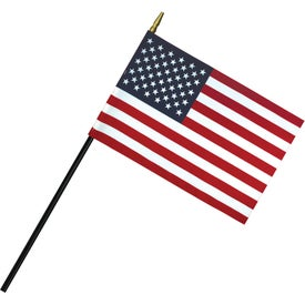 Deluxe Polyester U.S. Stick Flags (6