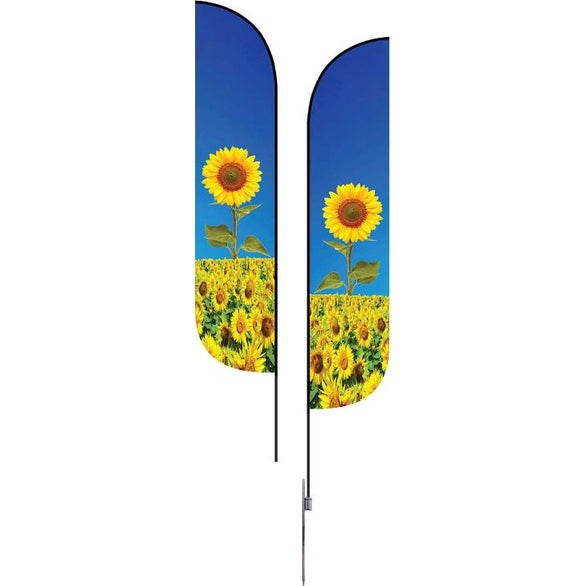 Full Color Imprint Extra Large Double-Sided Feather Flag with Spike Base