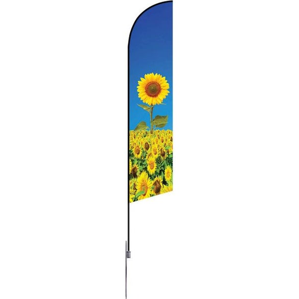 Full Color Imprint Extra Large Single-Sided Angle Flag with Spike Base
