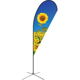 Extra Large Single-Sided Premium Teardrop Flags with Chrome X-Base