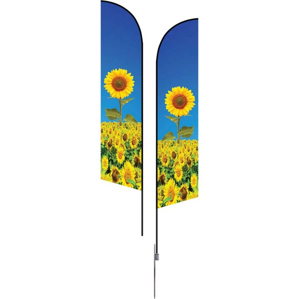 Full Color Imprint Large Double-Sided Angle Flag with Spike Base