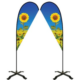 Large Double-Sided Teardrop Flags with Black X Base