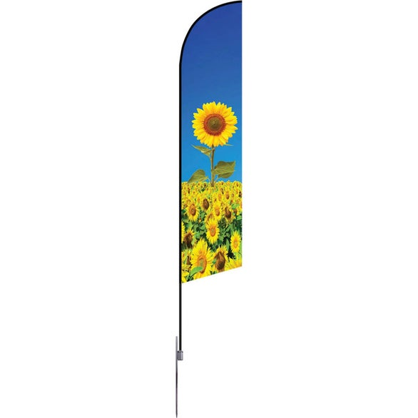 Full Color Imprint Large Single-Sided Angle Flag with Spike Base