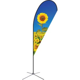Large Single-Sided Premium Teardrop Flags with Chrome X-Base