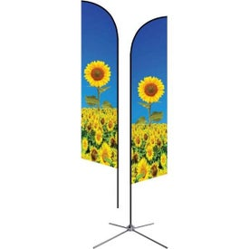 Medium Double-Sided Angle Flags with Chrome X Base