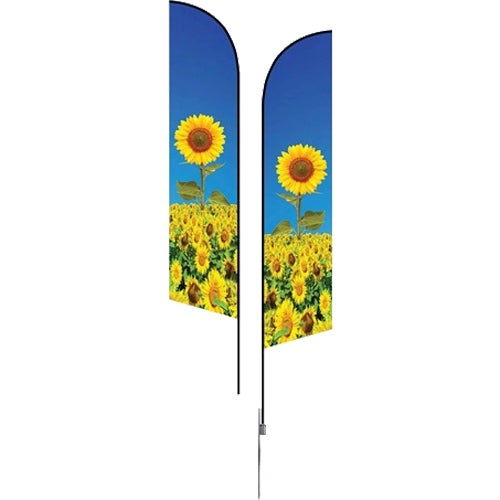 Full Color Imprint Medium Double-Sided Angle Flag with Spike Base