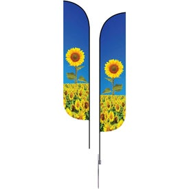 Medium Double-Sided Feather Flags with Spike Base