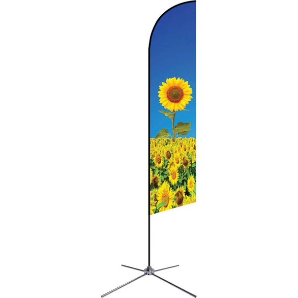 Full Color Imprint Medium Single-Sided Premium Angle Flag with Chrome X-Base
