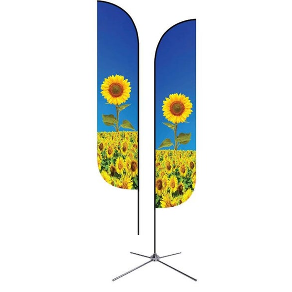 Full Color Imprint Small Double Sided Feather Flag with Chrome X-Base
